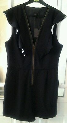 Bnwt Asos Black With Frill Front Zip Fastening Playsuit Size Uk 14