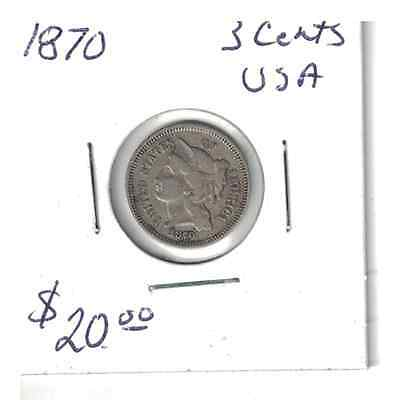 1870 USA 3 cent nickel coin