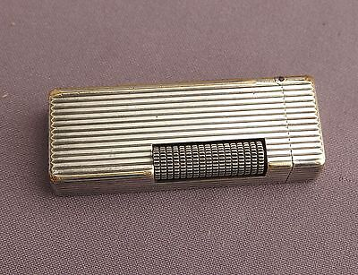 Vintage Dunhill rollagas silver plated vertical lines classic lighter - working