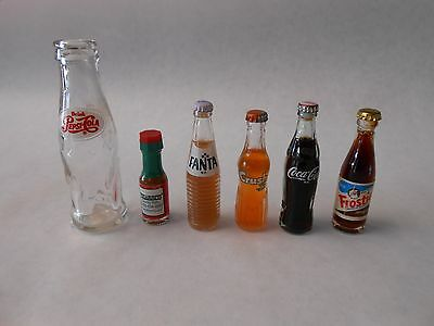 "Lot of 6 Miniature Soda Bottles 4"" PEPSI, Fanta,Orange Crush, Frostie, Coke, FS"