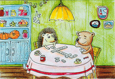 HEDGEHOG AND TEDDY PLAY DOMINO AT KITCHEN TABLE Modern Russian card