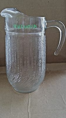 """Seagrams Gin Glass Pitcher Green Logo 10"""" Tall VINTAGE"""