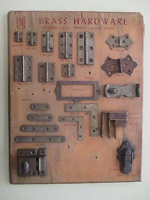 Vintage National Lock Company Brass Hardware Store Display # A80 Wood