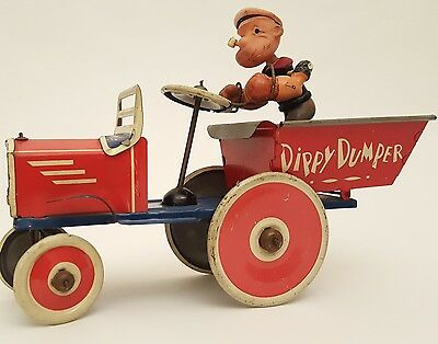 Rare 1940s Marx Popeye Dippy Dumper Tin Wind Up Celluloid Toy