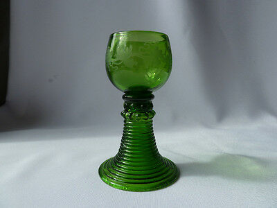 Vintage/Antique Rummer or Wine Glass With Etched Grapevine , h12,6cm