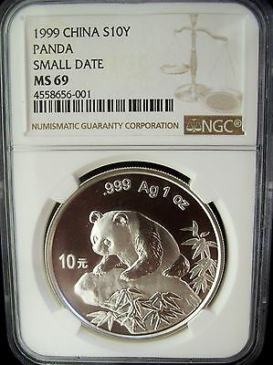 1999 China Panda 10 Yuan Small Date NGC MS69 1 Ounce Silver Coin