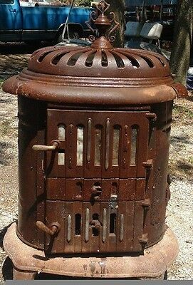 Montgomery Ward 1930's Antique Oval Tin Stove designed for coal or wood