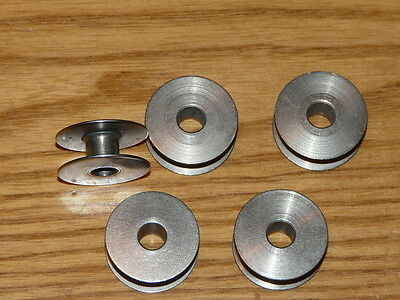 5 Vintage HUSQVARNA Sewing Machine Stainless Steel Spools - Bobbins