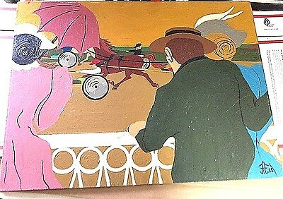 Day at the Races Acrylic on Board Frank Diaz Escalet Harness Horse Racing
