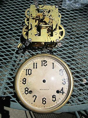 Vintage New Haven Clock Movement & Face Dial for Parts or Repair NR