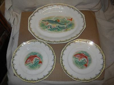E.H.S.C.CO. S.V. China: 1 Platter and 2 Plates with Fish Design