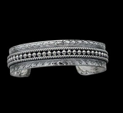 Vogt Silver Hand Twisted Rope Bead Accent Cuff Bracelet 014-108