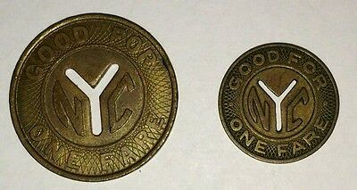 New York City NYC Transit Authority Good For One Fare Token Vintage Lot of 2