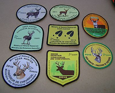 8 ONTARIO MNR DEER HUNTING PATCHES moose,bear,elk,big game patch,crest,hunter