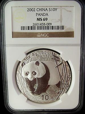 2002 China Panda 10 Yuan NGC MS69 1 Ounce Silver Coin