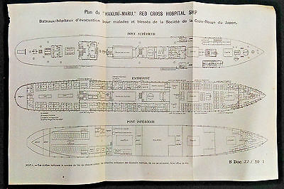 RARE 1905 Plans of Hakuai-Maru Japanese Red Cross Hospital Ship Diagrams Japan