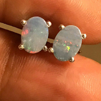 Natural 2ct Australian Opal 925 Solid Sterling Silver Stud Earrings 7mm