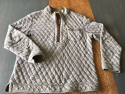 Tommy Bahama Mens Large Gray Quilted 1/2 Zip Up Pullover Sweater Flaws Soft