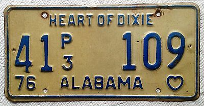 """Alabama License Plate all embossed """"Heart of Dixie"""" tag 41P3 109 expired 1976"""