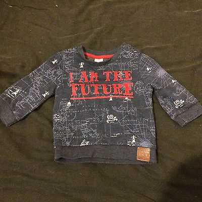 "Boys Navy Blue Jumper With Slogan ""I Am The Future"" (6-9Mths)"