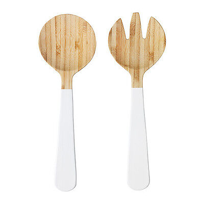 Set of 2 piece Salad Serving Bamboo Made Spoons-White