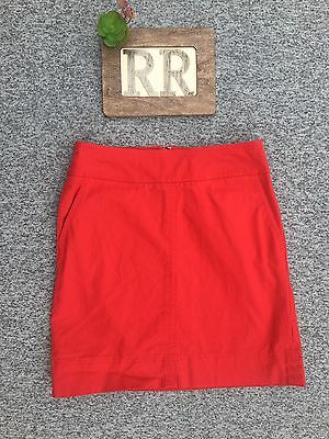 Women's Talbots Red Cotton Straight Knee Length Skirt With Pockets-4