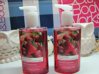 Bath and Body Works Lot of 2 ~ Fresh Strawberries  ~ Hand Sanitizer 7.6 fl oz ea