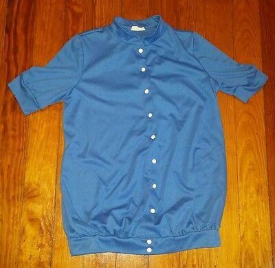 Chas L Lewis Vintage Blue Short Sleeve Button Up Cotton Shirt w Pockets USA Made