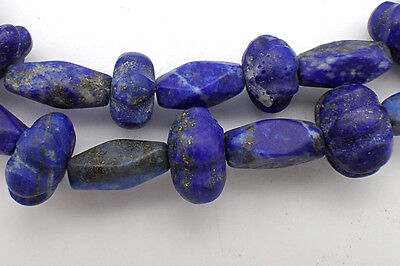 Ancient Lapis Lazuli w/Pyrite Carved Egyptian MELON Faceted Beads Strand #4988