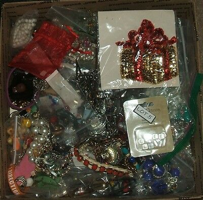 Large flat rate box lot of junk jewelry for crafts design repurpose  #5 16.5 lbs