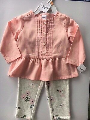 NWT Carter's Peachy Pink two piece baby girls outfit size 12 months