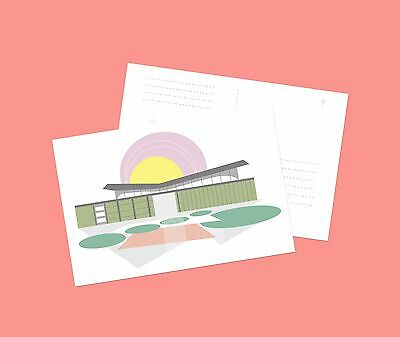 Mid Century Modern Architecture Krisel Butterfly Roof Palm Springs Postcard