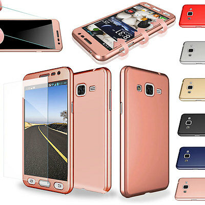360° Full Hybrid Protective Case + Tempered Glass For Samsung Galaxy S6 S7 Edge