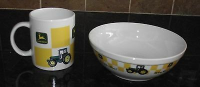 Gibson John Deere  Serving Pasta Soup Bowl And Coffee Mug Cup Yellow Green