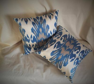 """Silk Ikat Square Pillowcase Blue and White, Set of two, 15"""" made in Uzbekistan"""