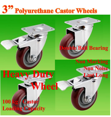 "3"" (75mm) Heavy Duty Castor Wheels,4 Swivels (2 with Brake),Trolley Bench Table"