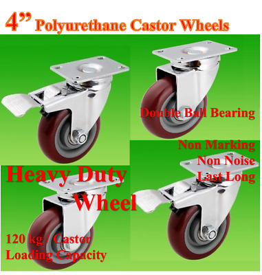 "4"" (100mm) Heavy Duty PU Castor Wheels, 4 Swivels (2 with Brake), Top Quality"