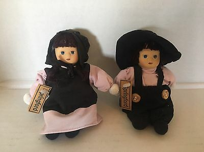 Pair Of Springford Dolls Two Amish Dolls Black & Pink Outfits