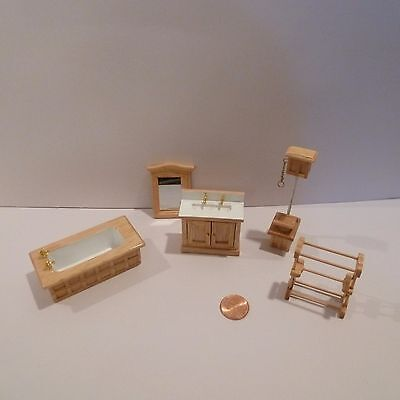 "Miniature 1/2"" Scale Bathroom Set   Includes Toilet, Tub, Sink, Mirror, & Rack"