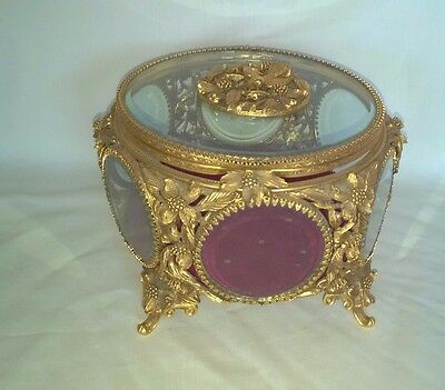 Vintage Matson Large Filigree Beveled Glass Trinket Casket Box Flowers Read