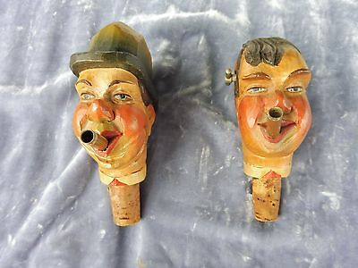2 Italian Anri Hand Carved Musical Head Bottle Stoppers Sold As Is