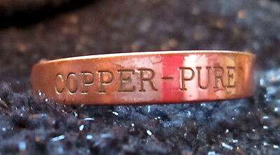 Vintage Cuff Bangle Bracelet Signed Outside Copper Pure Marked Copper