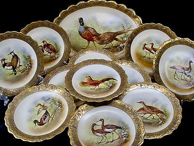 Limoges 12 pc Faisan Dore Game Bird Service Hand Painted Gilded Signed by Artist
