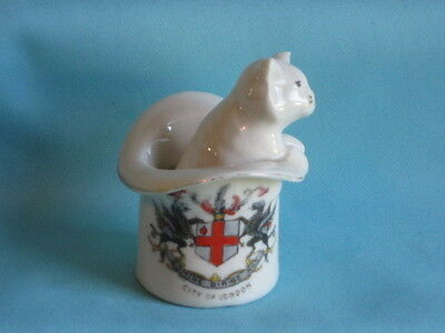 Gemma China Cat In Top Hat - CITY OF LONDON crest
