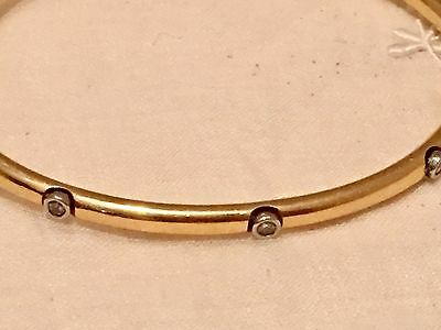 Vintage Antique 14kt Gold Diamond Bangle Bracelet - hinged