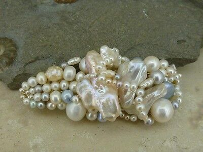 Ready to wear Hairclip barrette in white, blush & a pale blue pearls - wedding