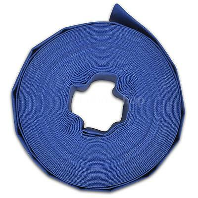 """New 25 m 2"""" PVC Flat Water Delivery Hose Discharge Pipe Pump Lay Flat Blue P7R8"""