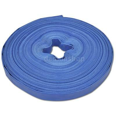 """Hot 50 m 1"""" PVC Flat Water Delivery Hose Pipe Pump Lay Flat Blue S8K1"""