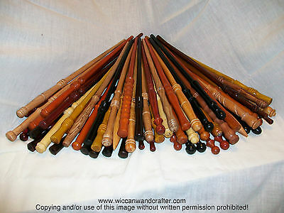 "Wizards Choosing 14"" - 15"" Hand Turned Wood Magic Wand Witch Wizard Wicca"