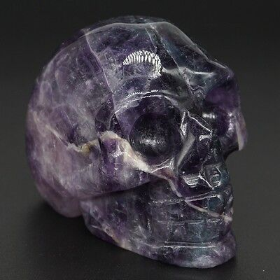 "1.9"" Natural AAA Grade Amethyst Crystal Skull Figurine Carved Lucky Healing Gift"